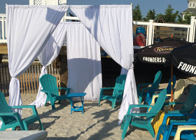 White 8x8 Cabana with red swooshes