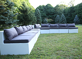 White Wicker Outdoor Furniture Rentals
